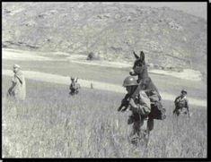 Soldier carrying a donkey, exact year and place unavailable