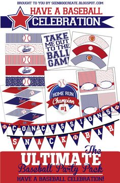 "The Ultimate Baseball Birthday Party Pack by SeeNikkiCreate on Etsy. A new shop, with some great stuff already! Check out this baseball birthday party pack! It can be an ""out of the park"" party!!"
