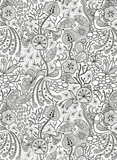 Peacock funky floral coloring page for adults.