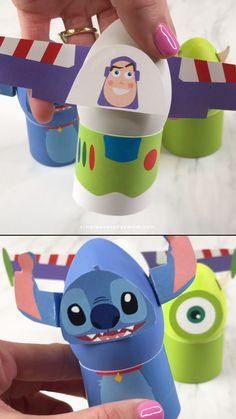 Looking for a fun Easter egg decorating idea for the kids? These Disney Easter eggs are great! Just paint some eggs and use the free printable templates to make Buzz, Stitch, Mike, Miguel and Olaf! Paper Roll Crafts, Paper Crafts For Kids, Craft Activities For Kids, Preschool Crafts, Easter Crafts, Diy For Kids, Disney Easter Eggs, Anniversaire Star Wars, Printable Templates