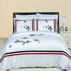 3pc Luxury Duvet Cover Set - Florence Red & White Embroidered Duvet Cover Set