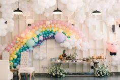 Sky-themed 1st birthday party | Birthday balloon installation | 100 Layer Cake