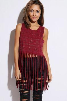 burgundy red bejeweled stud fringed clubbing crop top
