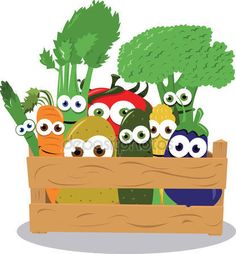 Śmieszne warzywa w drewniane pudełko — Grafika wektorowa © pcanzo #14033010