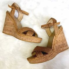 Stuart Weitzman Cork Wedge Sandal These are your new summer favorites! Woven straps on cork wedges, study style for the pool or the park! Show very limited wear, one small stain on one sole, uppers are in excellent condition. *As seen on Her Grace, the DUCHESS OF CAMBRIDGE*  Stuart Weitzman Shoes Wedges