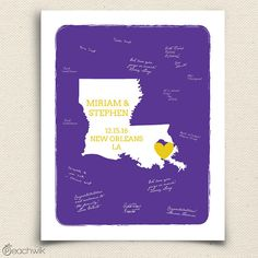 Wedding Guest book Art Print - Louisiana State - Personalized State Guestbook- Keepsake United States Wedding Guestbook Art  -Peachwik Print on Etsy, $30.00