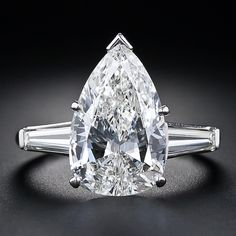 4.89 Carat Pear Shaped Diamond Solitaire Ring