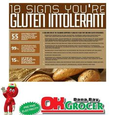 10 Signs You're Gluten Intolerant. My husband & daughter are Non Celiac Gluten Sensitive. Many chronic problems can be vastly improved on a GF diet. Gluten Free Diet, Foods With Gluten, Gluten Free Cooking, Gluten Free Recipes, Healthy Recipes, Healthy Meals, Grain Free, Dairy Free, Free Gf