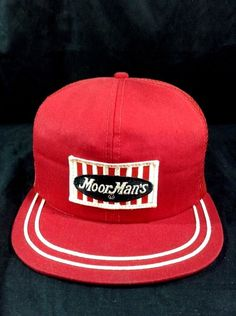 Vintage Moor Mans Hat Trucker Red Feed Service Snapback Farmer Country Cap   MoorMans 50a11c92bca0