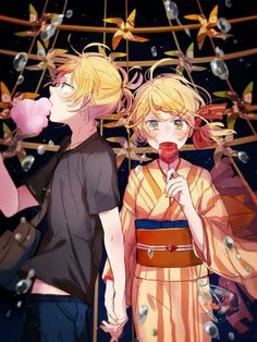 Macozi beautiful art - Kagamine Rin and Len from VOCALOID 2 ((Summer festival ver.))