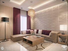 Cream burgundy livingroom - Pivot Studio