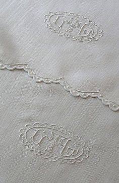 Triple Monogrammed Antique Linen Towels