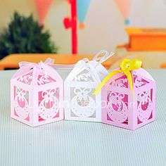 Bow Laser Cut Favors Box for Baby Shower - Set of 12 (More Colors) 2017 - £6.43