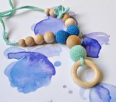 SALE-Nursing/Teething Necklace with wooden ring by SimplyaCircle-Breastfeeding Necklace-Eco-Friendly-Mint Blue