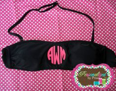 Block Circle Monogrammed Bandeau Swim  Top by PersonalizedbyPriss, $30.00