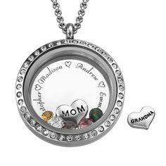 "Engraved Floating Charms Locket - ""For Mom or Grandma"" | MyNameNecklace"