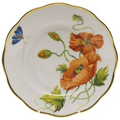 Herend American Wildflowers California Poppy Salad Plate at Herendstore China Plates, Plates And Bowls, Salad Plates, China Painting, Ceramic Painting, Pottery Plates, Ceramic Pottery, Herend China, California Poppy