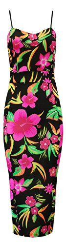Womens Celebrity Multi Floral Tropical Neon Print Ladies Bodycon Midi Dress