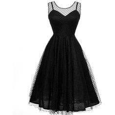 Unique Vintage 1950s Style Black Dot High Society Swing Dress ❤ liked on Polyvore featuring dresses, vintage, dot dress, polka dot cocktail dress, vintage swing dress, tent dress and black trapeze dress