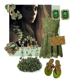 """Green Goddess 2"" by littlecuteepies on Polyvore featuring Valentino, Wendy Yue, Edie Parker and Effy Jewelry"