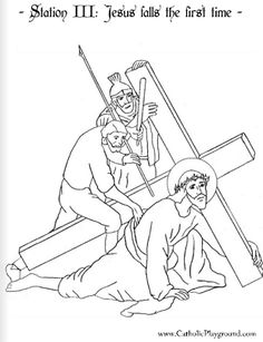 coloring page for the third station of the cross jesus falls the first time