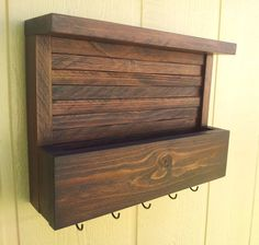 Mail and Key Rack with Top Shelf / The STACKED Kona / Finished in Walnut Color