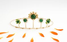 Call me Mandala - a Tiara made with red brass, jade, jasper and pyrite. Made by Britten Toftarp, Kronmakaren #tiara #bridecrown