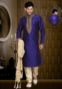 Groomsmen - http://www.utsavfashion.com/men/blue-art-silk-readymade-kurta-with-churidar/mcd1877-itemcode