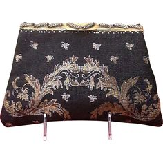 """Vintage Steel Beads Evening Purse with Ornate Frame  """"Near MINT"""""""