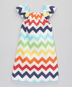 Look what I found on #zulily! Red & Navy Zigzag Cap-Sleeve Dress - Infant, Toddler & Girls #zulilyfinds