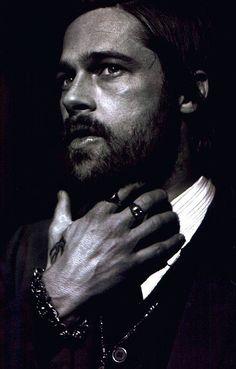 Brad Pitt, male actor, celeb, beard, powerful face, intense eyes, eyecandy, steaming hot, sexy, hand, fingers, portrait, photo b/w.