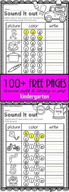 100 free printables for kindergarten learning. Tons of awesome literacy and math worksheets to engage your students to learn about spring, summer , fall and winter with fun.
