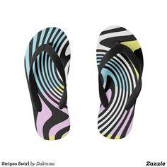 Shop Stripes Swirl Kid's Flip Flops created by Dakinisa. Flip Flop Art, Kids Flip Flops, Summer Fun, Beachwear, Artsy, Stripes, Pairs, Sunglasses, Sandals