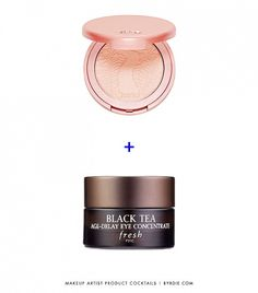 """Product Cocktail #2: Tarte Amazonian Clay 12-Hour Blush ($28) + Fresh Black Tea Age-Delay Eye Concentrate ($85)  """"Want cheeks to look naturally flushed (not powdery) but only have powder blush on hand? Shave off a tiny bit of your powder blush (I like Amazonian Clay 12-Hour Blush ($28) by Tarte) using a cotton swap, mix it with your eye cream in your palm, then dab on your cheeks using your fingertips.  Since eye cream tends to dr20 Products Makeup Artist Love to Mix for Summer via…"""