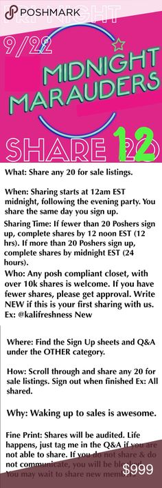 🌙🌙🌙PLEASE SHARE @LILKITTYLADY 🌙🌙🌙 What: Share any 12 for sale listings.   When: Sharing starts at 12am EST midnight, following the evening party. You share the same day you sign up.   Sharing time: Complete shares by midnight EST (24 hrs).   Who: Any posh compliant closet w/ 10k+ shares is welcome. If less, tag me for approval on Q&A. Write NEW if this is your first time sharing with us. Ex: @kalifreshness New Other