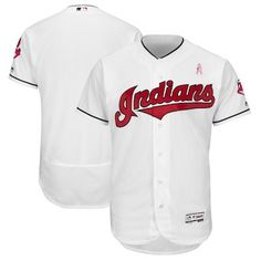 306cb8792 Cleveland Indians Majestic 2018 Mother s Day Home Flex Base Team Jersey –  White Indians Baseball