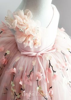 Amelia Gown by Anna Triant Couture First Birthday Dresses, Baby Girl Party Dresses, Birthday Girl Dress, Dresses Kids Girl, Kids Outfits Girls, Flower Girl Dresses, Little Girl Gowns, Gowns For Girls, Angel Dress