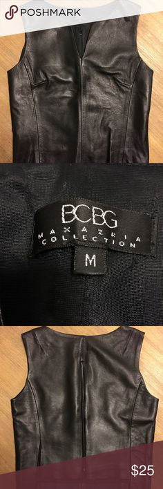 BCBG leather vest BCBG Maxazria Collection (1990's) Black leather vest with zipper back full body lining soft leather  Chest - 17 inches  Waist length  Sleeveless BCBGMaxAzria Other