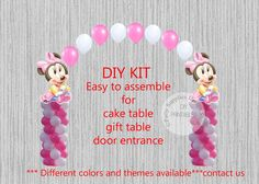 Baby Minnie Mouse Party Balloon Decorations Do It Yourself KIT easy to assemble Includes: 2 Jumbo Minnie Foil Balloons 72 - 11inch Latex Balloons Fishing Line Easy to follow instructions Great for Birthday Party! Please note that balloons do not ship inflated. You need helium, for indoor use. SHIPPING TIME: USPS First class mail approx 7 - 8 business days USPS Priority mail approx 2 - 3 business days USPS Express mail approx 1 - 2 business days
