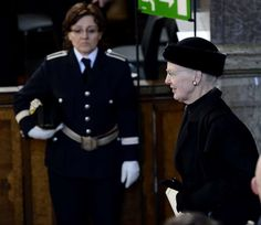 Queen Margrethe attends the funeral of HRH Princess Lilian of Sweden March 16, 2013