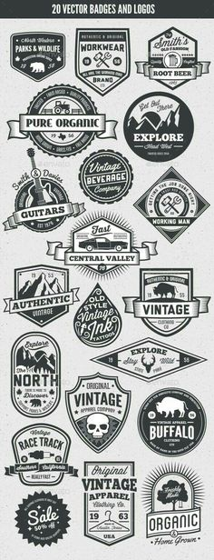 Buy 20 Vintage Style Badges and Logos by GraphicMonkee on GraphicRiver. Overview This vector set contains 20 vintage / retro styled badges, signs and logos. The graphics are vector and. Typography Logo, Typography Design, Branding Design, Lettering, Vector Logo Design, Posters Vintage, Vintage Labels, Vintage Logo Design, Vintage Designs