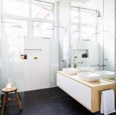 Apt 6 DD Ensuite - the block glasshouse 2014 Bathroom Renos, Laundry In Bathroom, Bathroom Inspo, Bathroom Inspiration, Bathroom Interior, Small Bathroom, Bathroom Showers, White Bathroom, The Block Glasshouse