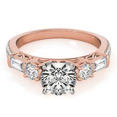 Round & Baguette Diamond Engagement Ring 14k Rose Gold 1.88ct - Allurez.com