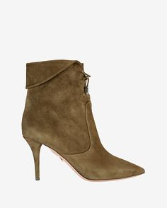 Aquazzura Tribeca Foldover Suede Kitten Heel Bootie: Fold-over detail at top with single lace-up tie. Pointy toe. 3 1/2 heel. Leather soles. In mossy green suede. Made in ...