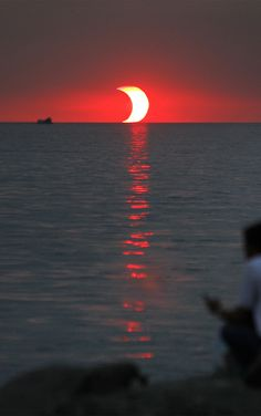 """ Partial solar eclipse over Philippines. Captured by Gil Nartea in 2009. """
