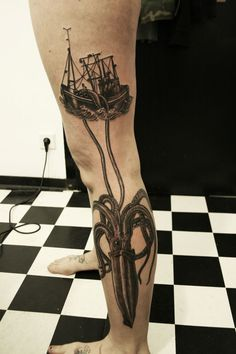 Ship black octopus tattoo on leg, Octopus tattoos on legs Squid Tattoo, Octopus Tattoos, Kraken Tattoo, See Tattoo, Cover Tattoo, Cute Tattoos, Tattoos For Guys, Boat Tattoos, Amazing Tattoos