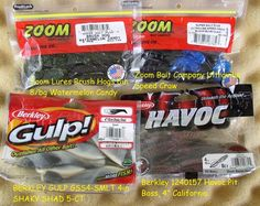 4-PK MISCELLANEOUS BAITS GOT TO MOVE NEED THE SPACE GOOD SHAPE ZOOM, HAVOC, GULP
