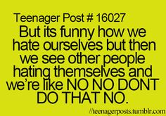 true... I don't HATE myself I just.... Want a different me??