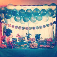 Zoë's Dolphin birthday party - dessert table