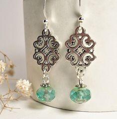 Turquoise Glass Earrings Teal Dangle Earrings Silver Boho